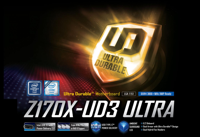 Buy the Gigabyte Z170X-UD3 Ultra Intel Z170 Chipset for LGA1151,ATX  Form,4x    ( GA-Z170X-UD3 Ultra ) online